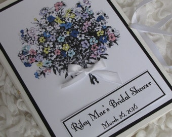 Bridal Shower Album,  Personalized Photo Book, Beaeded Floral Bouquet,  Birthday Gift, Thank you gift, Girls weekend Keepsake 5x7, 6x7.5