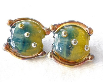 1 Pair At The Beach Silver Glass Lentils Blue Ocean Sparkle Handmade Head Pins Lampwork Beads by Beadfairy Lampwork, SRA
