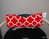 Cute NEW DESIGN Red Quatrefoil and Black Houndstooth REVERSIBLE Car Seat Handle Arm Pad with Hand Grip