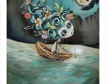 Day of the Dead, Sugar Skull, Ghost Moth, Moon, Boat, Night, Stars, Sea, Flowers- Pop Surrealism Fine Art Print - by Heather Renaux-unframed