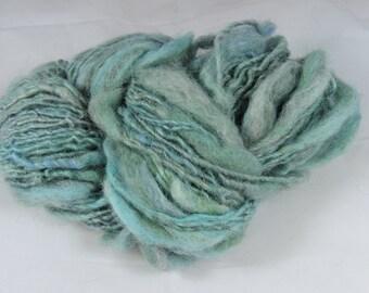 Hand spun Art Yarn - Mohair Wool Thick and Thin Blue Ocean 16-1-52