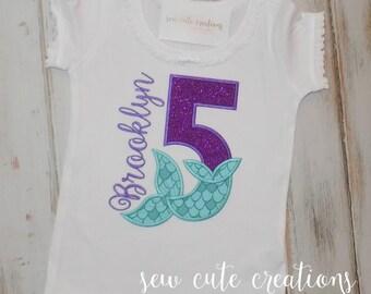 Mermaid Birthday Shirt, Mermaid Tail Birthday shirt, Ruffle shirt, Girl Mermaid shirt, Mermaid birthday outfit, sew cute creations