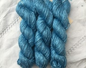 Mini skein 20g Hand Dyed Worsted weight Silk Yarn - Mid Blue