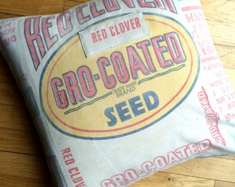 "20"" Grain Sack Pillow Sham - Gro Coated Red Clover Seed"