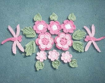 thread crochet applique flowers, leaves, and dragonflies  --2496