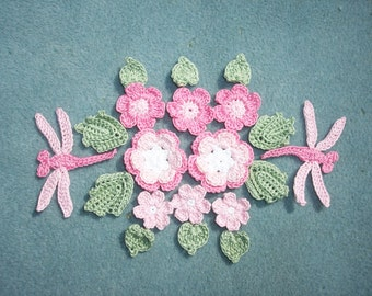 thread crochet applique flowers, leaves, and dragonflies  --2497