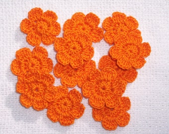 12 pumpkin orange cotton crochet applique flowers --  2520