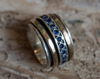 Mothers Ring, gold silver band, Blue sapphire ring, infinity ring, stacking rings, spinning ring, infinity ring, boho - Endlessly R1075L-5
