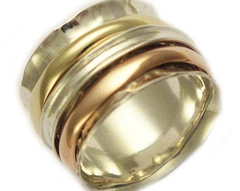 Sterling silver yellow and rose gold band, Wedding band, three Spinners ring, meditation band, two tones ring - Wonderland forever 3 R1026C