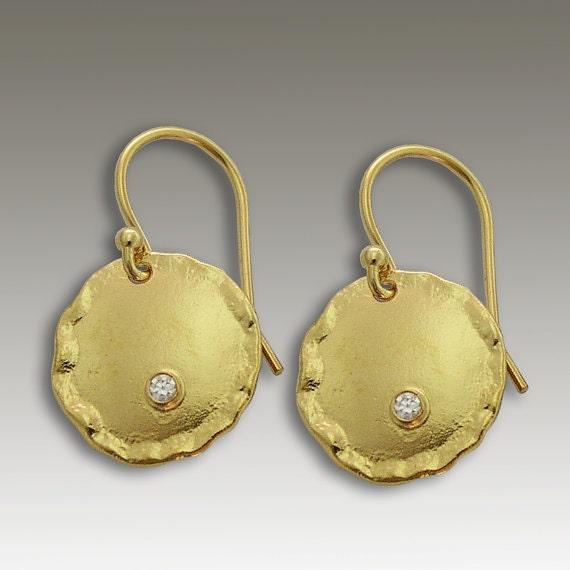 Solid Gold Earrings, 14k Gold Disc Earrings, Circle Bridal Earrings, Gold Diamond Earrings, Organic Gold Earrings, classic - Emotions EG2087