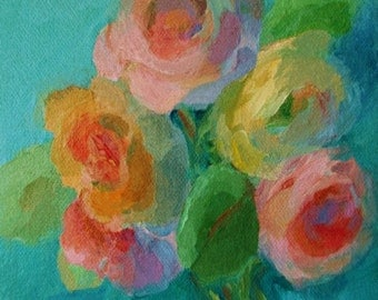 Original Floral Painting- Impressionist Art- A Handful of Roses- Square 6x6 Canvas Wall Art