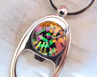 Keychain, Bottle Opener, Dichroic Glass, Fused Glass