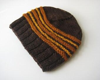 brown knit hat orange brown hand knit wool hat