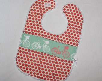 Mint Whimsical Wheels and Dots Chenille Bib