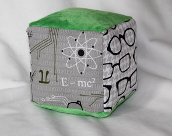 Mod Geek and Glasses Minky Fabric Block Rattle