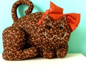 MEOW // 1970's Large Stuffed Cat // Door Stopper // Decorative Pillow // Patchwork Kitty // Brown and Orange // RETRO home
