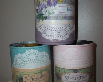 Painted Tin Cans,  Upcycled Tin Can, Decoupage Tin Can, Set of 3 Shabby French Perfume Label,  Chalk Paint, Pencil Holder