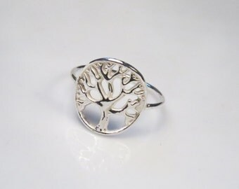 Tree of life ring, Silver tree ring, 925 Sterling silver ring, Woodland ring