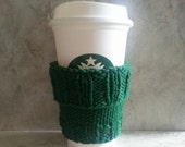 2 in 1 Coffee Cup Cozy Cotton Forest Green Hand Knit Eco Vegan Friendly Gift under 20