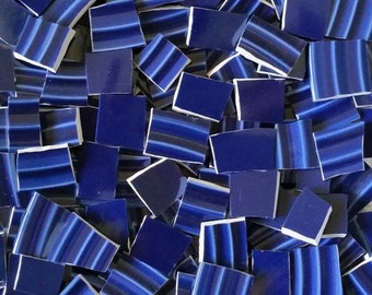 Mosaic Tiles--Cobalt Blue Ridges & Solids -50Count