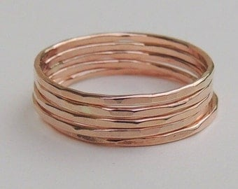 Thin Rose Gold Stacking rings - set of rose gold rings, stackable rings