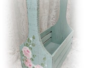Wood Rose Garden Tote Box, Hand Painted Aqua and Pink Roses, Storage, Display, Romantic, Shabby, ECS