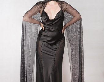 Rhinestones encrusted Couture Cape, custom made, many colors. Gothic Couture. Red Carpet.