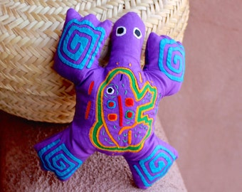 "Fabulous Purple Mola Beanbag Style ""Frog Frog"" -  Whimsical Kuna Indian Reverse Applique"