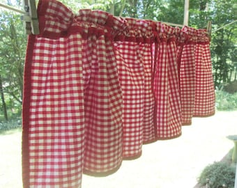 Vintage Handmade Kitchen Curtain - Red Gingham Cotton Valance