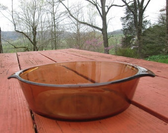 Vintage 1 1/2 Quart Casserole Dish - Brown/ Amber Glass