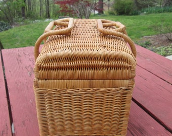 Vintage Wicker Basket - Picnic or Storage or Decor