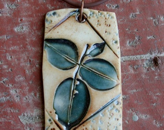 Rustic Teal Leaves Porcelain Pendant 1