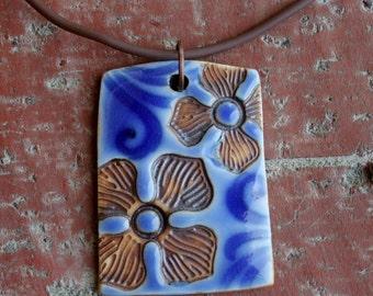 Rustic Flowers on Royal Blue Porcelain Pendant