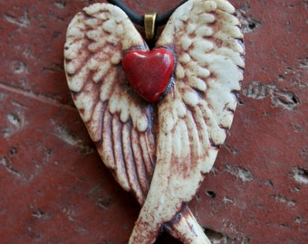 Rustic Red Heart Porcelain Winged Pendant 1