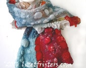 20% OFF -  Multi Coloured Textured Felt Scarf Orange Blue Pink - Hodgepodge  -  Winter Scarf Eco Fashion