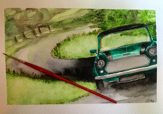 Mini Cooper Original Watercolor and Ink Painting