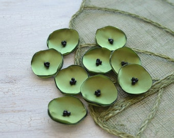 Small handmade fabric sew on flower appliques, fabric flowers for crafts, mini satin poppies, wholesale flowers (10pcs)- MOSS GREEN POPPIES