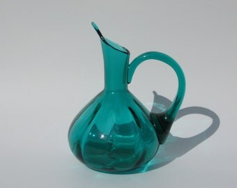 Emerald Green Blown Glass Pitcher with Pointed Spout Vintage Art Glass Mouth Blown Glass Jug Applied Handle