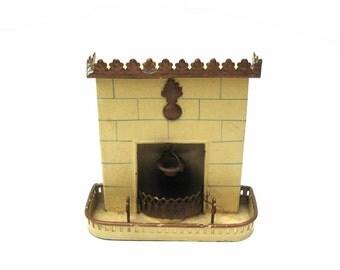 Antique German Marklin Dollhouse Fireplace Circa 1895 Rare Tin Miniature Toy