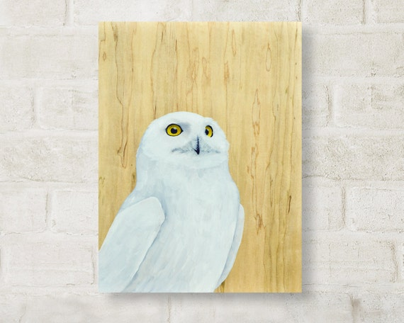 "original painting, oil, painting, owl, bird, wood grain, wall art, abstract, large art, large wall art, owl painting, white - ""Snowy Owl"""