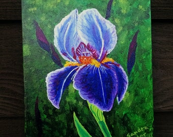 Purple and Blue Iris, 8x10 Acrylic painting