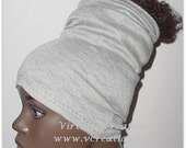 Natural Hair Accessories-Dreadlocks HeadTube-HeadBand-HeadWrap-Grey-Heather Gray