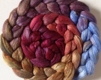 Hand Dyed roving for spinning or felting 3.5ozs polwarth mulberry silk 70/30 ready to ship