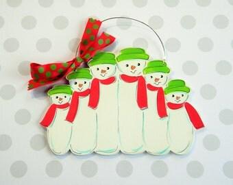 Snowman Family Ornament - 6 Snowmen - Family Ornament - 6 snowmen ornament - personalized ornament - painted ornament - wood ornament