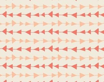 Follow Me Peach - Hello Bear - Bonnie Christine - Art Gallery Fabrics - HBR-4436 - Triangles Geometric Peach Coral