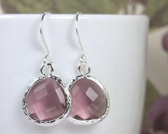 February Birthstone Amethyst Silver Framed Dangle Earrings, Amethyst Silver Dangle Earrings, Purple Silver Earrings #794