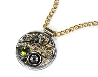 Steampunk Jewelry Necklace RARE ILLINOIS Guilloche 2 Tone Pocket Watch Olive Crystal UNISEX Mothers Day Fiancee Gift - Jewelry by edmdesigns