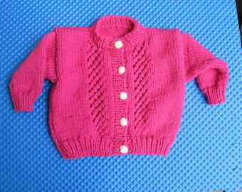 Hand Knitted Rose Cardigan with Flower Buttons for Toddlers