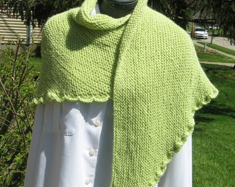 Handknit Light Green Triangle Shawl with Crocheted Shell Edge