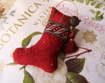 "4"" Little Red Brocade Stocking Ornament, Tassel, Button, Bead"